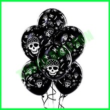 12 inches Pirate skull printed latex balloons