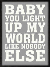 """ BABY YOU LIGHT UP MY WORLD LIKE NOBODY ELSE "" hanging wall decor plaque"