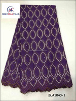 2016 Mikemaycall New style cotton embroidery lace/purple guipure lace fabric for African women clothes