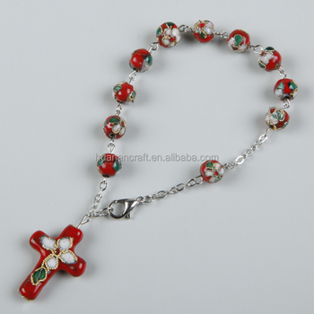 2015 hot sale cloisonne colorful rosary bracelet with different colors and sizes