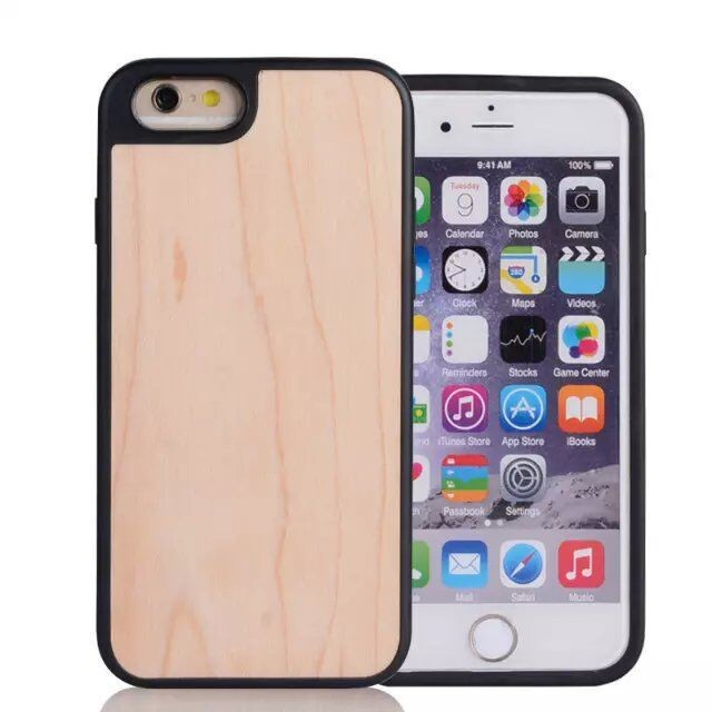 Soft TPU Blank Wood Case for iPhone 7 Case