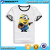 2016 New arrival children clothes wholesale custom made Minions cartoon digital printing short sleeve t shirts for kids