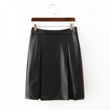 Wholesale Cheap Custom Made Leather Look A Line Pleated Black Skirt MPQ1520