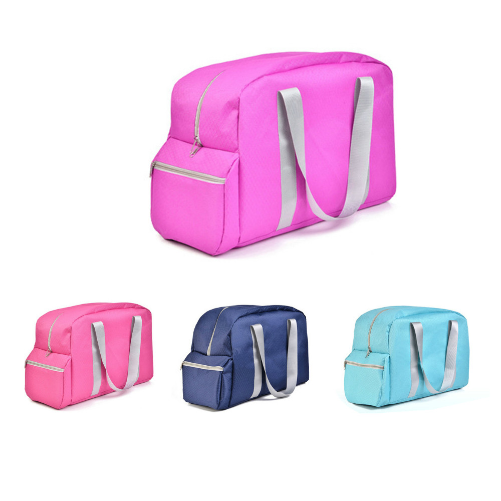 Shoulder strap clothes travel storage organizer bag, nylon oxford fabric foldable garments pack handbag with shoe compartments