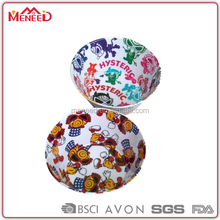 SGS pass food grade custom full printing flat bottom large round melamine fried chicken bowl, plastic soup bowl