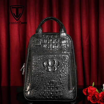 Wholesale Crocodile Skin Leather Shoulder Bag Custom Laptop Backpack