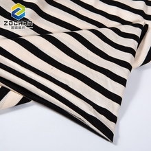 100% Mercerized Single Jersey Black White Stripe Cotton Fabric