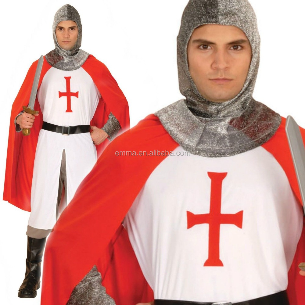 Knight St George England Soldier Crusader Medieval Fancy Dress Costume Rugby BM3021