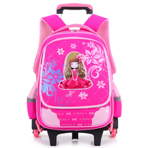 High Quality School Kids Backpack Bag with Cartoon Print Trolley and Wheels