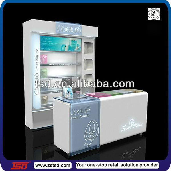TSD-W077 Custom high quality cosmetic shop counter design/cosmetic shelving rack/cosmetics display units