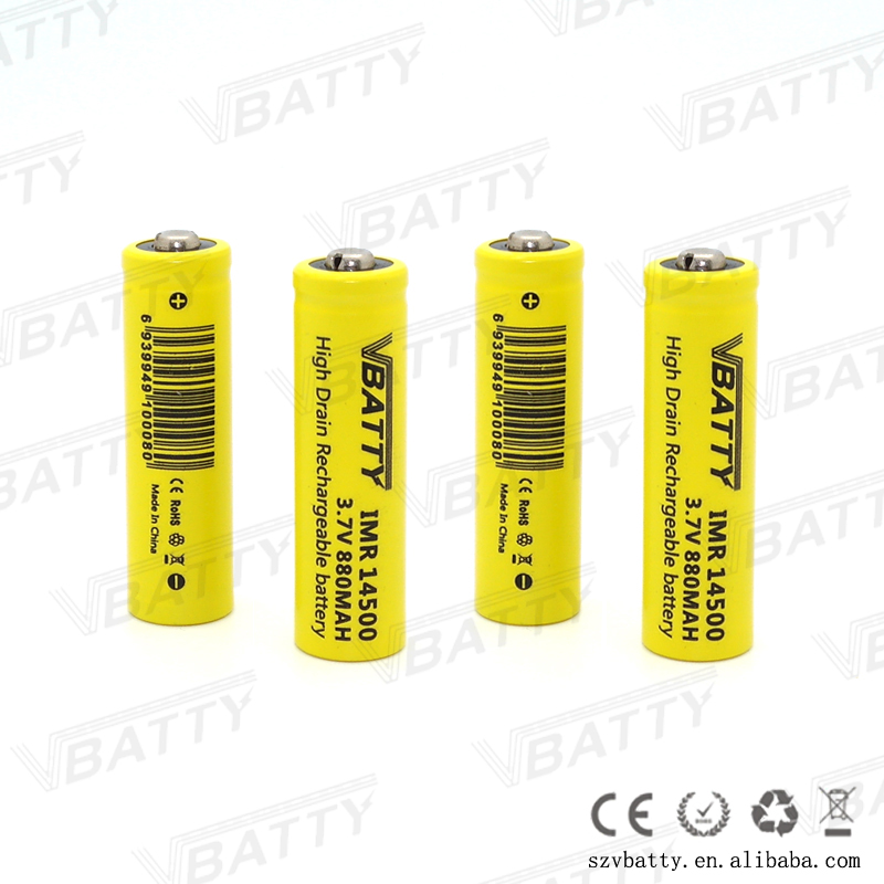 Vbatty 3.7v icr 14500 li-ion rechargeable battery 880mAh protected imr14500 battery 12A discharge