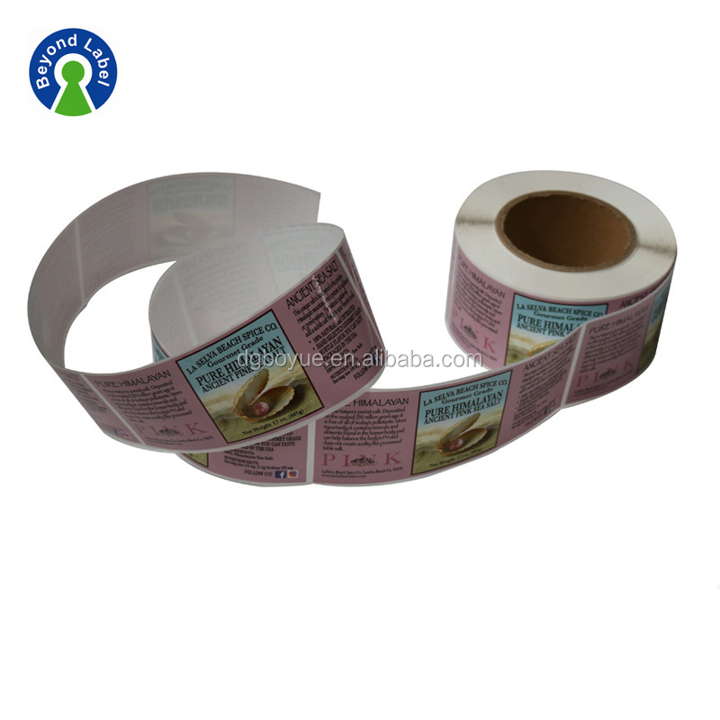 Food Bottle Label Packaging, Waterproof Food Custom Roll Label