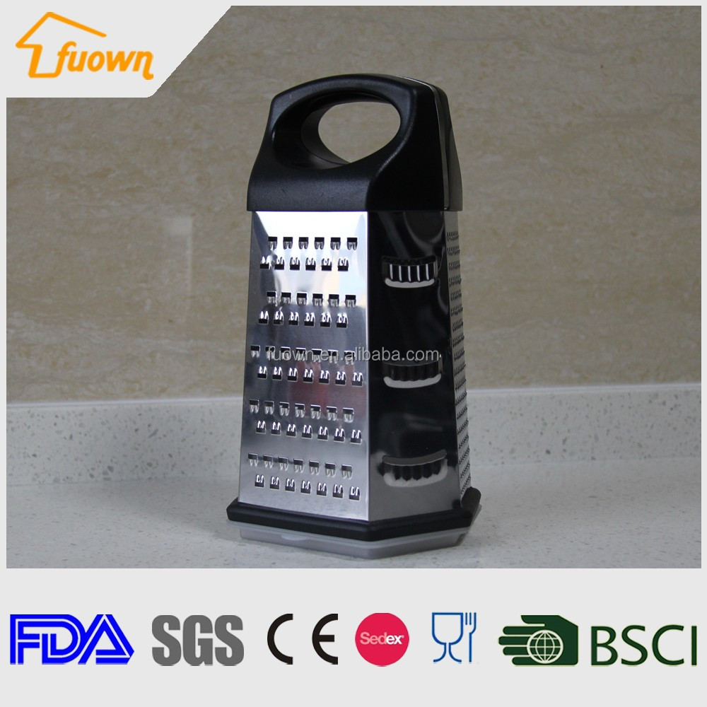 New Black 6 Sides Stainless Steel Vegetable Grater with container box
