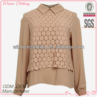 The latest fashion perfect cutting contrasted popcorn blouses