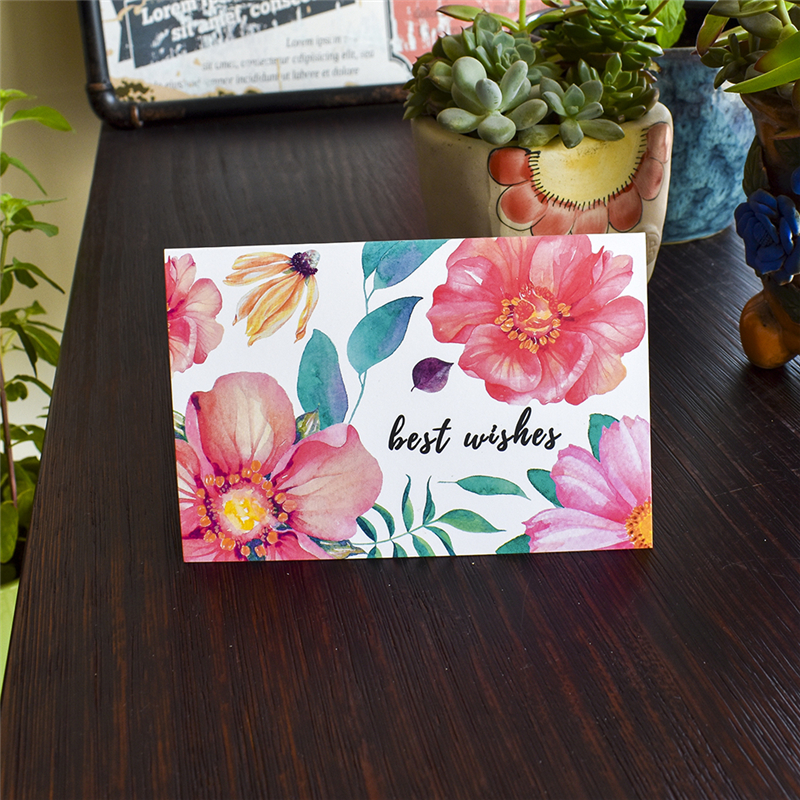 Amazon Hot Sell Floral Best Wishes Thank you Greeting card with envelope