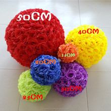 Wholesale Artificial Silk round rose flower ball for wedding decoration