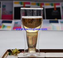 Upside Down Beer Bottle Style Double Walled Glass Cup