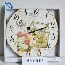 On The Wall Clock Round Wooden