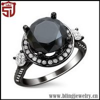 Alibaba SJ Jewellery Buy Online BR02652 Promotional Brass/925 Silver Good Cut AAA Cubic Zirconia Prong Setting Black Round Ring