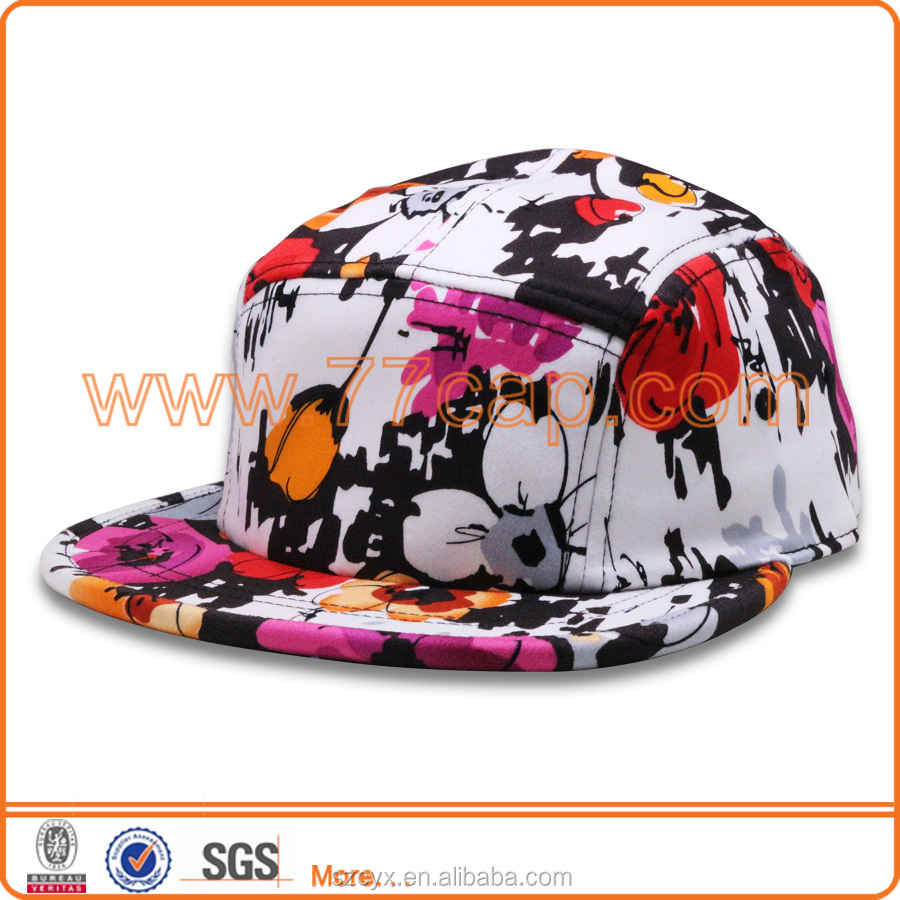 2016 Custom 5 Panels 100% polyester Sublimation Baby Floral Snapback Hat Baseball Cap Wholesale