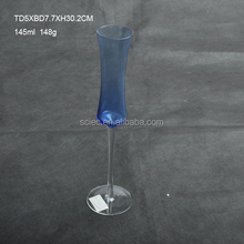 145ml blue colored long stem champagne stemmed glass