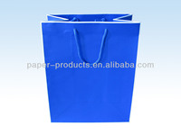 BLUE COLOR Shopping GIFT paper BAGS WITH HANLDE from China manufactuer
