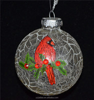 New products 2016 innovative product ideas, 6cm glass craft with a red bird as christmas garden decor from china glass companies