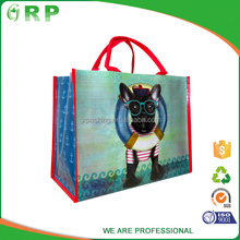 ISO/BSCI Cute black cartoon dog printing red handle pp woven animal shape foldable bag