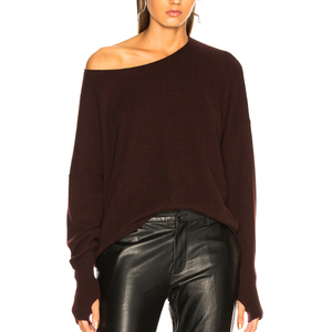new arrival off the shoulder sweaters with hand hole knit cashmere sweater women