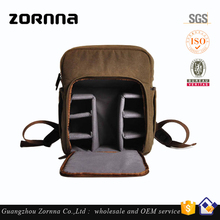 Hot selling durable hiking travelling canvas and leather dslr backpack oem camera bag