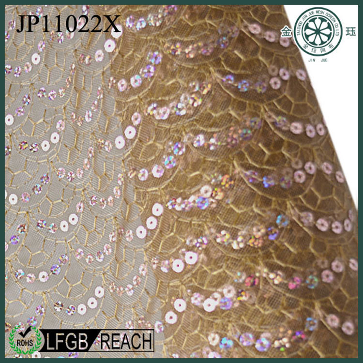 New beauty of the nylon & polyester gold sequin fabric