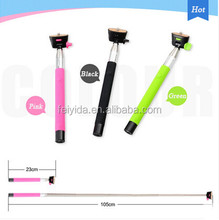 Factory price monopod selfie stick with bluetooth shutter button