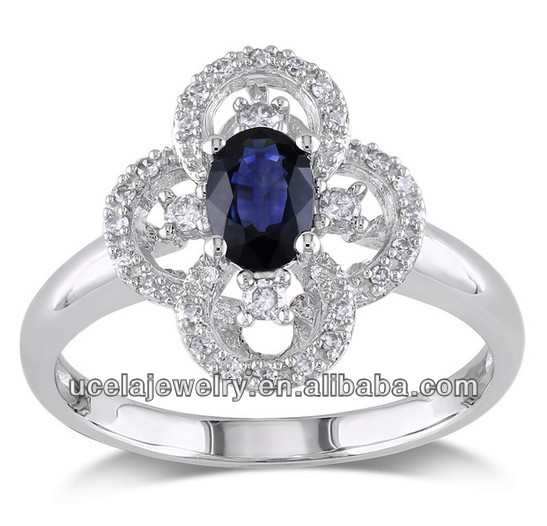High Quality 10k White Gold masonic Sapphire and Diamond Ring affordable wedding rings