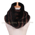 CX-S-170A Genuine Mink Fur Fashionable Knitted Snood Fur Scarf