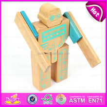 Hot sale Non Toxic wooden robot toy for kids,DIY children wooden robot toy with very cheap price W03B043