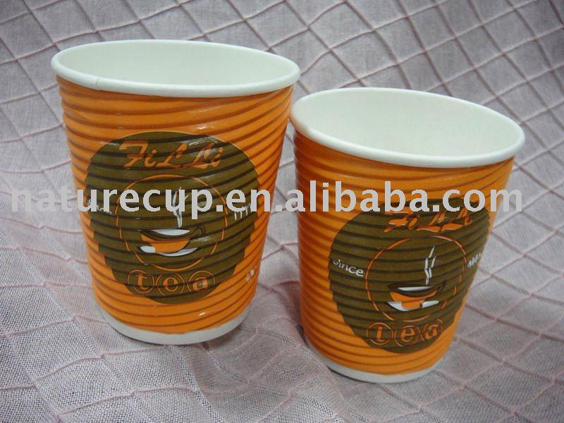 ripple wall 12oz paper cup coated with single pe