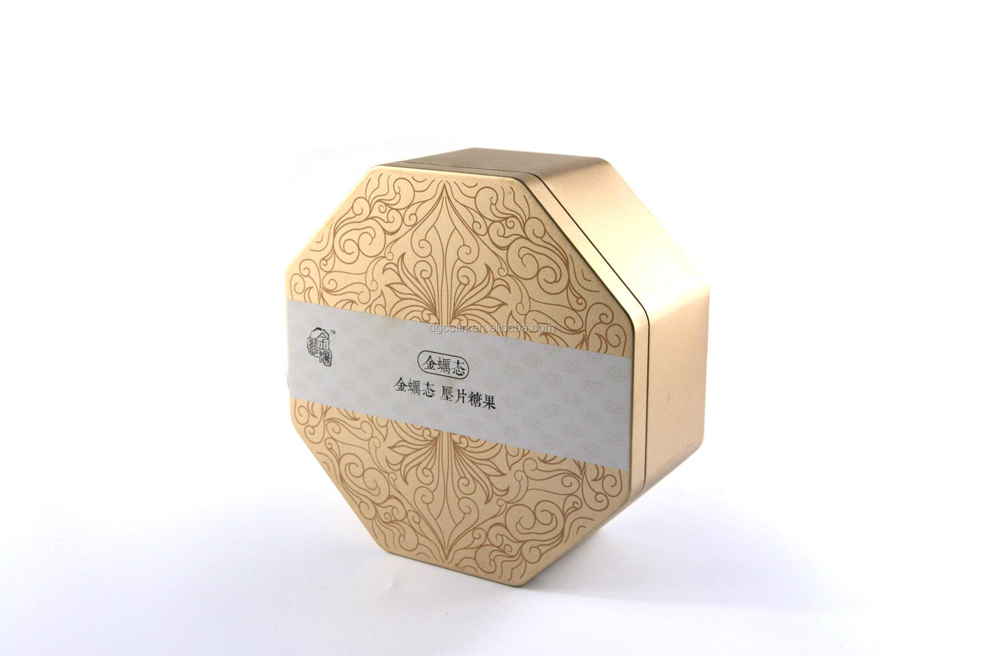 High quality octagonal tin boxes with sleeve