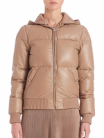 Classic puffer styling, reimagined in luxe leather Women Down Jacket For clothing 2016