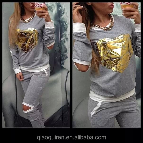 Women's Heart-shaped patch casual sportswear outfit