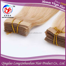New Style High Quality 613# Blonde Color Indian Skin Weft/ Pu Tape Hair Extension Cuticle Remy 100% Natural Indian Human Hair