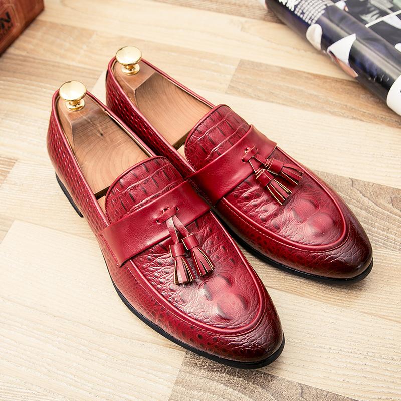 men winter italian fashion snake skin brogue leather oxford tassel slip on pointed toe shoes designer male formal cool footwear  (41)