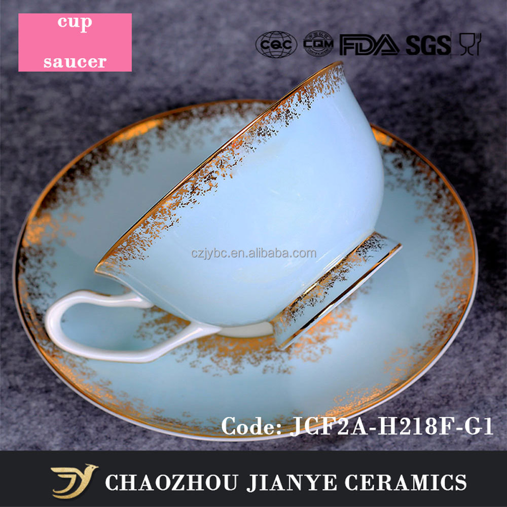 Alibaba Online Shopping Blue Decaled Porcelain Tea Cup Sets Gold Painted Fine Bone China Cups And Saucers