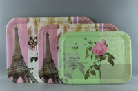 Flower Design Melamine Rectangle Tray Set