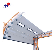 Automatic overhead sectional industrial door with window