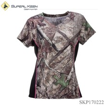 Ladies Quick Drying Anti Microbial V-Neck Slim Hunting T-Shirt