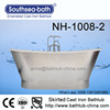 "67"" Double Slipper Stainless Steel Color Skirt Free Standing Cast Iron Bathtub"