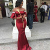 DB006 2018 African Bridesmaid Dresses Boat Neck Off The Shoulder Satin Mermaid Wedding Guest Gowns Custom Made Women Party Dress