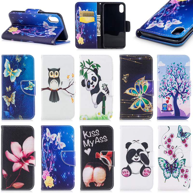Newest Stylish Flower Animal Carton Pattern Leather Phone Case for iPhone X
