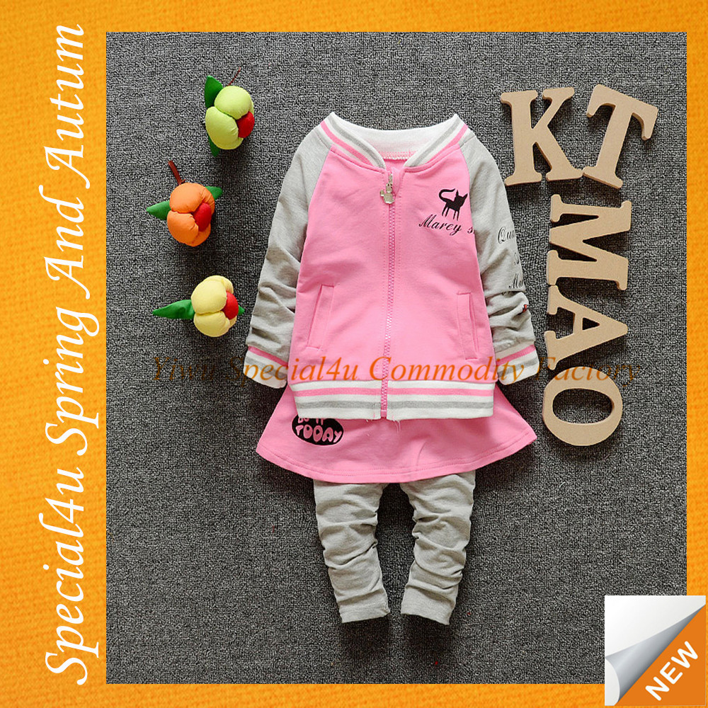 Best selling products wholesale price baby spring clothes gray and pink cotton fashion girls clothing set SHLY-202