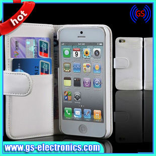 Leather case for iPhone 5,For iPhone 5 leather folio stand case with SD card slot